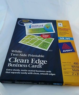 Avery 2-Side Printable Clean Edge Bus. Cards, Inkjet, 8877, Wht, Matte, 400
