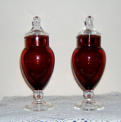 Vintage Set Of 2 Ruby Red & Clear Apothecary Glass Jars