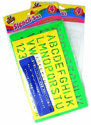 4 x Stencil Set Alphabet Letters Numbers Lettering/Arts and Crafts WH3 700 / NEW