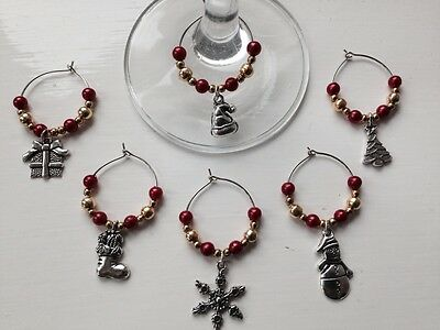 Set of 6 Christmas Wine Glass Charms, Red,ideal gift as come with an organza bag