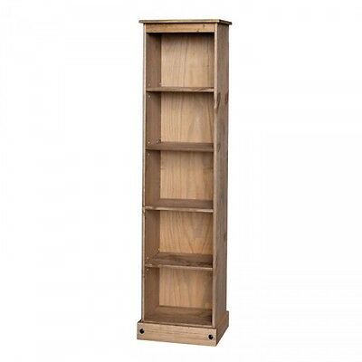 Premium Corona Solid Pine Tall Narrow Bookcase Adjustable Shelves Storage Unit