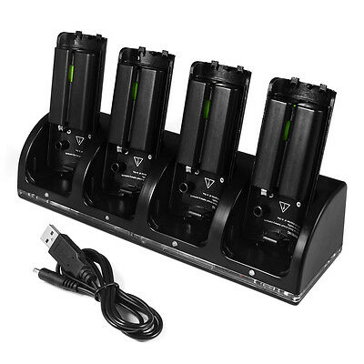 4x 2800mAh Rechageable Battery USB Docking Charger per Wii Remote Control AC635