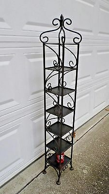 "805D Vtg HAND WROUGHT IRON Tiered 6 Shelf/Plant Stand/Knick Knack Shelf 50"" Tall"