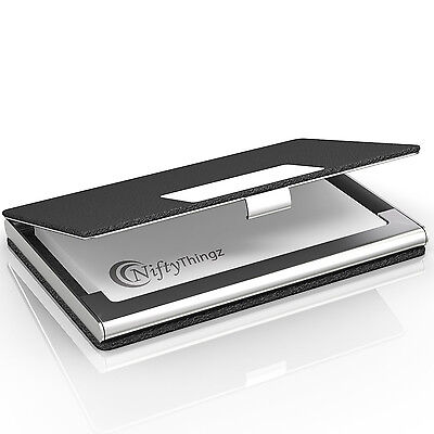 Business Name Card Holder Black Leather Stainless Steel Metal Box ID Credit Case