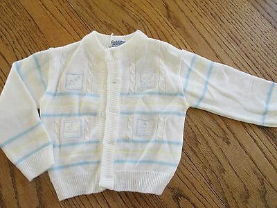 Carriage Boutiques Baby Boys WHITE Cardigan Sweater NAUTICAL 0-3 Months EUC