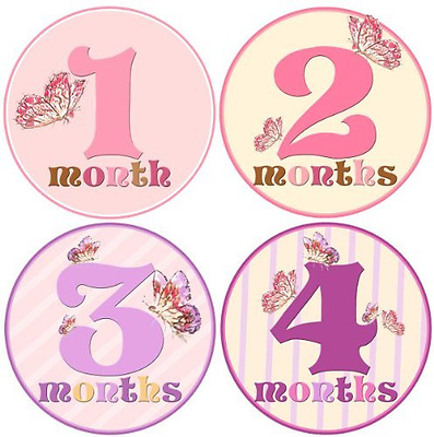 Baby Girl Monthly Milestone Stickers 1-12 Months by Mumsy Goose