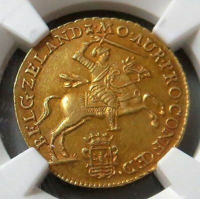 1761 Gold Netherlands Trade Ducat Coin Zeeland Mint Ngc About Uncirculated 58