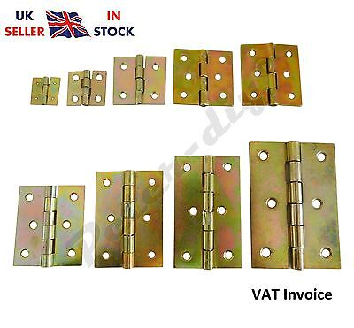 Yellow Galvanised Butt Hinges Door Cabinet Cupboard 9 Sizes From 20 to 80mm