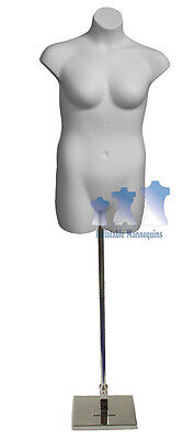 """Female Plus Size White and Tall Adjustable Mannequin Stand with 10"""" Square Base"""