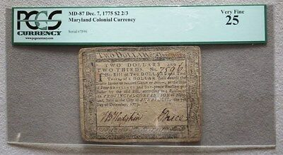 December 7, 1775 Maryland $ 2 2/3 Colonial Currency-Md 87 Pcgs Very Fine 25