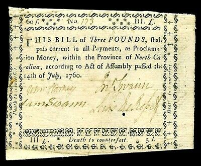 July 14Th, 1760 North Carolina Three Pounds Colonial Currency -Nc 112- Very Fine