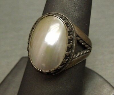 Vintage Estate C1980 Byzantine Sterling Silver Mabe Mother of Pearl Ring Sz 10