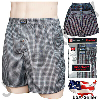 New Lot 3 6 12 Men Boxers Briefs Underwear Cotton Plaid Trunk Shorts S - 3XL