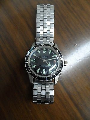 Mens Vintage Black Face Saxony Sportster Swiss Watch (working)