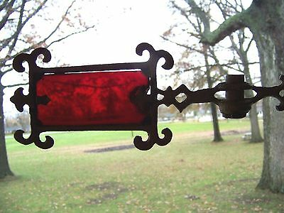 Antique Metal Weathervane Arrow Pointer With Red Glass Cranberry Glass