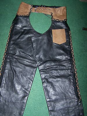 Black Brown Leather Chaps Motorcycle Braided Unisex Lined