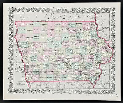 1856 Iowa Map Fort Des Moines Cedar Rapids Du Buque Railroads Colton Original