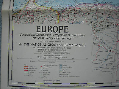Vintage Large Europe  Wall Map-National Geographic- 1969 - EXC
