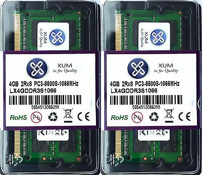8GB RAM (2x 4GB) PC3-8500S DDR3 1066MHz SO-DIMM 204-pin memory for PC/Mac laptop