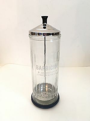 Vintage KING RESEARCH BARBICIDE Barber Shop Disinfecting GLASS JAR With Box NEW