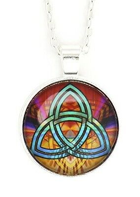 Celtic Knot Necklace Silver Tone NX56 Geometric Art Symbol Pendant Fashion Jewel