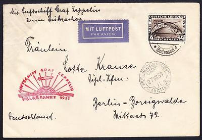 Cover 1931 Polar Flight 4mk on cover to USA with 26.7.1931 'Graf Zeppelin' c.d.s