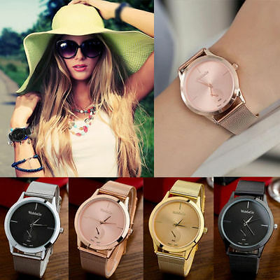 UK Women Ladies Bracelet Stainless Steel Unisex Dial Analog Quartz Wrist Watch