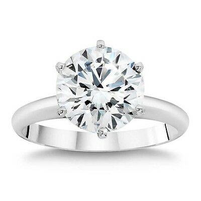 Genuine colorless Moissanite Engagement Ring Round Brilliant Cut 14k White Gold