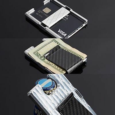 Men's Wallet Carbon Fiber/ Billet Money Clip Credit Card Bottle Opener