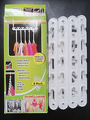 8 X Space Saver Wonder Magic Clothes Hangers Closet Organizer Hooks Racks YA
