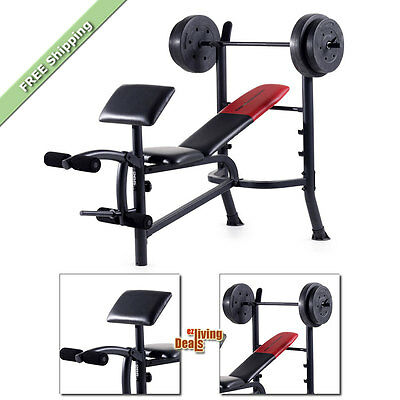 Weider Weight Bench Pro-265 with 80 lb Vinyl Weights Workout Exercise Benches