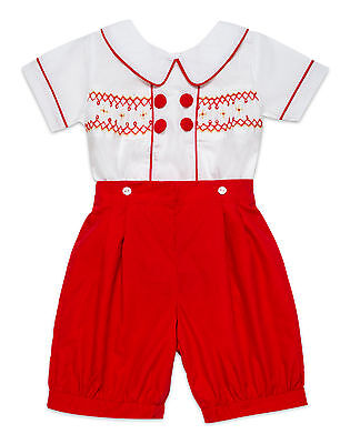 """Aurora Royalboys Red & White """"george"""" Hand Smocked Hand Embroidered Buster Suit"""