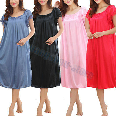 Ladies Shiny Satin Silky Nightdress Chemise Nightie Nightshirt Short Sleeve