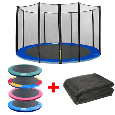 Trampoline Replacement Spring Cover Padding Pad & Safety Net Bundle 8 10 12 14FT