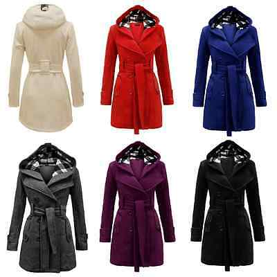 New Fashion Winter Warm Womens Ladies Hooded Belted Fleece Jacket Coat Overcoat