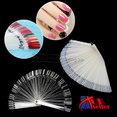 50 PCS False Display Nail Art Fan Wheel Polish Practice Color Pop Tip Sticks