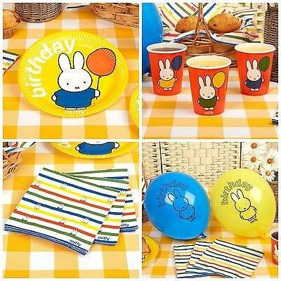 Miffy Birthday Party Range, Plates, Cups, Napkins, Balloons - Babys 1st Birthday