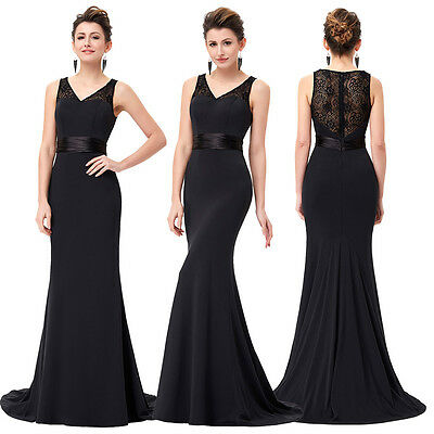 Black Long Prom Evening Dress Formal Bridesmaid Party Cocktail Gown SIZE 4-18