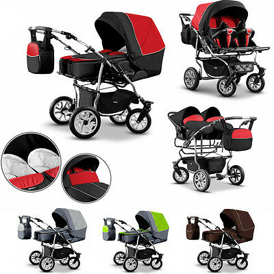 BIG SALE Twin Baby Pram 3in1 Pushchair Double Buggy Twins + Car seats 21 COLOURS