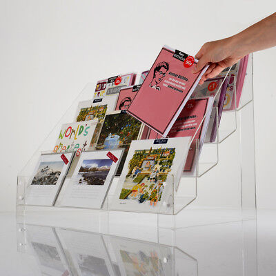 Clear Acrylic Tiered (3 or 4) Greeting Card Retail Display Stand | Postcard Rack