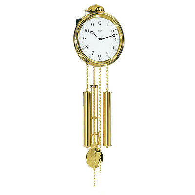 Hermle Neasden Mechanical Pendulum Wall Clock - Brass - 1/2 Hour Strike - Gold