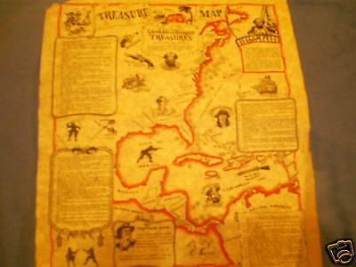 "Pirate treasure map of the Americas parchment paper14"" plus a pirate paper money"