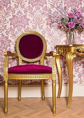 French Louis Armchair Red Gold Velvet Chic Antique Style Bedroom Hall Chair