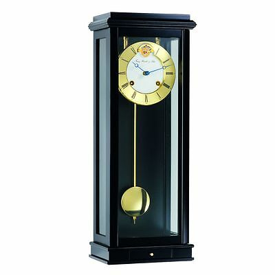 Hermle Bristol Mechanical Regulator Wall Clock - Black Piano - 1/2 Hour Strike
