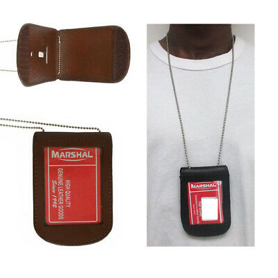 Police Security Leather Shield Badge Holder W/ Neck Chain Holder Brown Universal