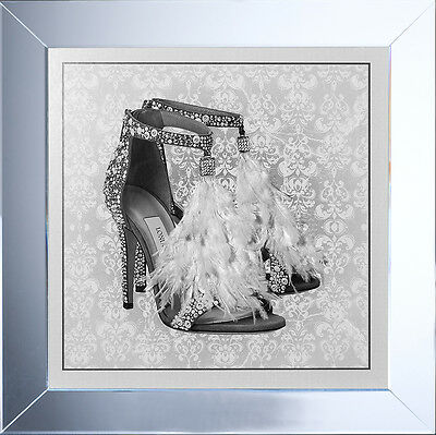 London Shoe White Wall Art Picture Mirrored Frame 75X75