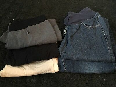 Lot Of 5 WOMENS Maternity Capris And Blue Jeans Motherhood Oh Baby Size Large