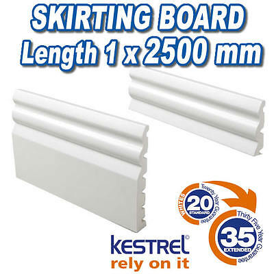 Skirting Board UPVC White Plastic 125mm & 70mm Ogee Skirting Board 2500mm Long
