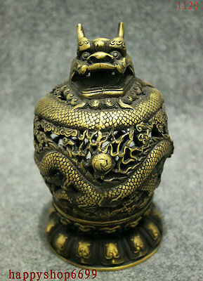 Folk Collect China Bronze Gilt Buddhism Fly Dragon Head Statue Incense Burner