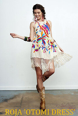 """ROJA~Spring 17~Folk Art Mexican~Embroidered~OTOMI DRESS~7""""Piano Fringe"""